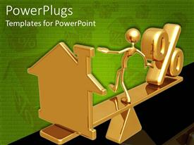 PowerPlugs: PowerPoint template with 3D golden figure keeping balance on scale with house on one side and percentage symbol on other side