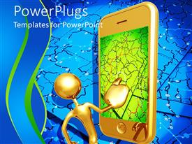 PowerPlugs: PowerPoint template with 3D golden figure with large mobile phone with touch screen displaying map with connections on blue background