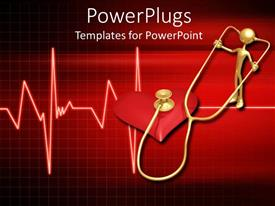 PowerPlugs: PowerPoint template with 3D golden figure with stethoscope controlling heart beats with heartbeat line on red background