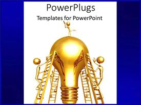 PowerPlugs: PowerPoint template with 3D golden figures climbing on stairs to reach the top of traditional light bulb