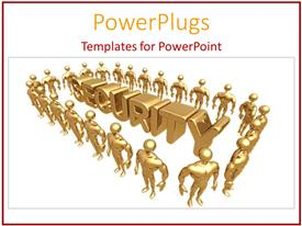 PowerPoint template displaying 3D golden figures with muscles surrounding the golden word security on white background