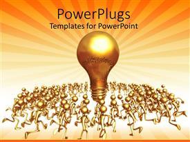 PowerPlugs: PowerPoint template with 3D golden figures running towards huge golden light bulb