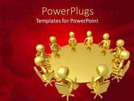 PowerPlugs: PowerPoint template with 3D golden figures sitting around a golden round table with globe fading in the red background