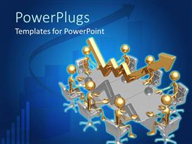 PowerPlugs: PowerPoint template with 3D golden figures sitting around a business meeting table with golden rising arrow showing growth