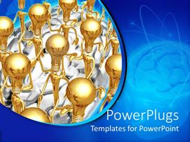 PowerPlugs: PowerPoint template with 3D golden figures with traditional light bulbs instead of heads on top of brain