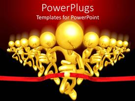PowerPlugs: PowerPoint template with 3D golden glowing figures running in a competition getting through red finish line