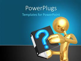 PowerPlugs: PowerPoint template with 3D golden human figure holding questions book with blue color
