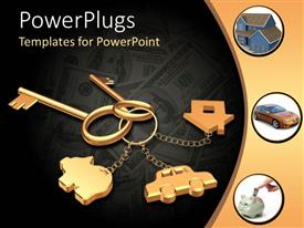 PowerPlugs: PowerPoint template with 3D golden key chain with two keys, house, car and piggy bank and three depictions of real house, car and piggy bank
