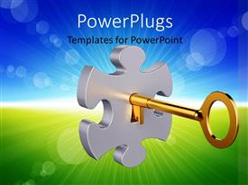 PowerPoint template displaying 3D Golden key inside the puzzle keyhole with abstract landscape