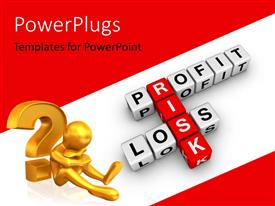 PowerPoint template displaying 3D golden person sitting aside question mark with profit loss and risk keywords, and white color