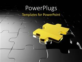 PowerPlugs: PowerPoint template with 3D golden puzzle over black jigsaw puzzle