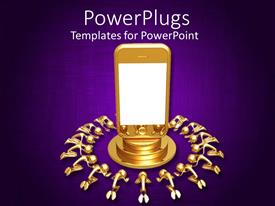 PowerPlugs: PowerPoint template with 3D golden smart phone on podium surrounded by kneeling to the phone