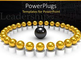 PowerPlugs: PowerPoint template with 3D golden spheres in circle and black sphere in the middle of circle with word cloud related to leadership