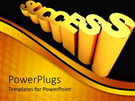 PowerPoint template displaying 3D golden text raising success word on black and yellow background