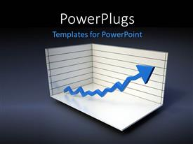PowerPlugs: PowerPoint template with a 3D graph with a zigzag blue colored arrow