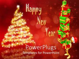 PowerPlugs: PowerPoint template with 3D graphic of a character carrying Christmas gifts and a Christmas tree
