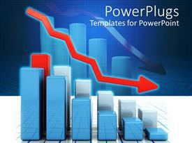 PowerPlugs: PowerPoint template with 3D graphic chart bars with red falling arrow representing falling profits