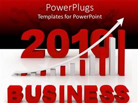 PowerPlugs: PowerPoint template with 3D graphic of a large 2010 figure and a pie chart with a text