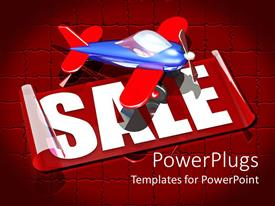 PowerPlugs: PowerPoint template with 3D graphics of an airplane and a text which spells out the word'sale'