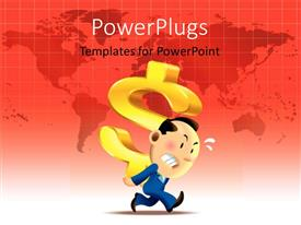 PowerPlugs: PowerPoint template with 3D graphics of an angry man running with a large dollar sign