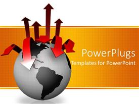 PowerPoint template displaying 3D graphics of a black globe with many red arrows on it