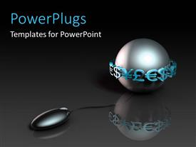 PowerPoint template displaying 3D graphics of a black shinning ball with currency symbols round it