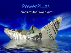 PowerPlugs: PowerPoint template with 3D graphics of a boat made of a dollar bill