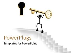 PowerPlugs: PowerPoint template with 3D graphics of a character holding up a gold colored key