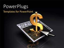 PowerPlugs: PowerPoint template with 3D graphics of a cursor and a dollar symbol on a screen