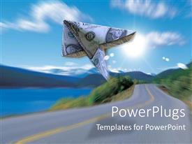 PowerPlugs: PowerPoint template with 3D graphics of a dollar kite flying over a sky and a road