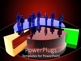 PowerPlugs: PowerPoint template with 3D graphics of eight blue colored human characters standing on a pie chart