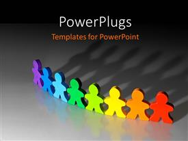 PowerPlugs: PowerPoint template with 3D graphics of eight paper cut multi colored human characters