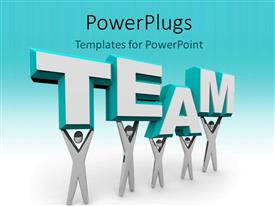 PowerPlugs: PowerPoint template with 3D graphics of five characters holding up a text