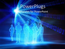 PowerPlugs: PowerPoint template with 3D graphics of five human characters shinning on blue