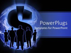 PowerPlugs: PowerPoint template with 3D graphics of five human characters in front of a large question mark