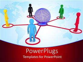 PowerPoint template displaying 3D graphics of five multi colored human characters standing round a globe