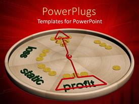 PowerPlugs: PowerPoint template with 3D graphics of a flat silver disk with yellow buttons and a red arrow