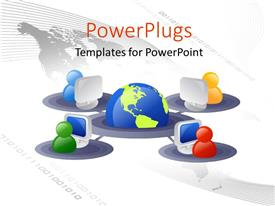 PowerPlugs: PowerPoint template with 3D graphics of four characters with computers linked to a globe