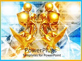PowerPlugs: PowerPoint template with 3D graphics of four gold colored human characters working on laptops