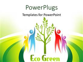 PowerPlugs: PowerPoint template with 3D graphics of four human characters touching a tree