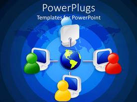 PowerPlugs: PowerPoint template with 3D graphics of four multi colored characters linked to a globe