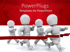 PowerPlugs: PowerPoint template with 3D graphics of four white human characters running to a red line
