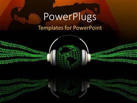 PowerPlugs: PowerPoint template with 3D graphics of a globe wearing a head set with lots of binary
