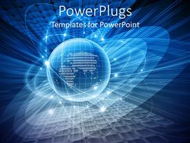 PowerPlugs: PowerPoint template with 3D graphics of a glowing large globe with many orbits