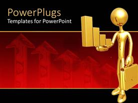 PowerPoint template displaying 3D graphics of a gold colored character holding a briefcase and some bars