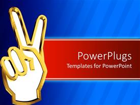 PowerPlugs: PowerPoint template with 3D graphics of a gold colored hand with the peace sign