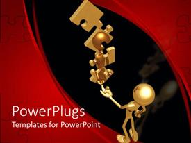 PowerPlugs: PowerPoint template with 3D graphics of a gold colored human holding up puzzle pieces