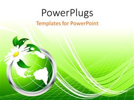 PowerPoint template displaying 3D graphics of a green globe with a white flower on it