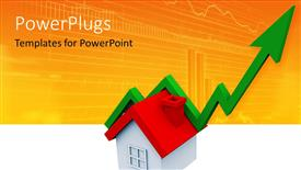 PowerPoint template displaying 3D graphics of a green large arrow over a small house