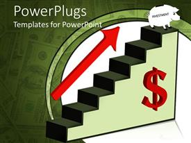 PowerPlugs: PowerPoint template with 3D graphics of a green stair case with a red dollar sigh and an arrow